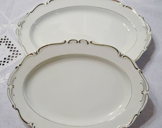 Vintage Ucagco Heirloom Platter Set of 2 Chipped White Platinum Scrolls Japan Replacement Panchosporch