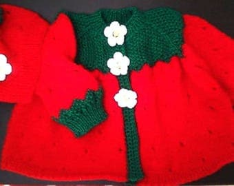 hand made knitted set for girls, in shape of  strawberry