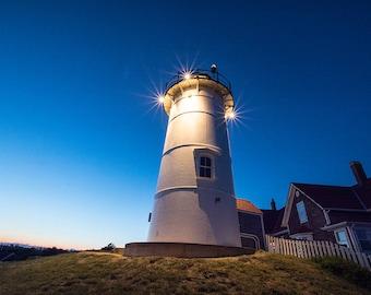 Nobska Lighthouse at night, Woods Hole, Cape Cod, Massachusetts, New England, nautical, light house, decor, print, photograph, photo, sea
