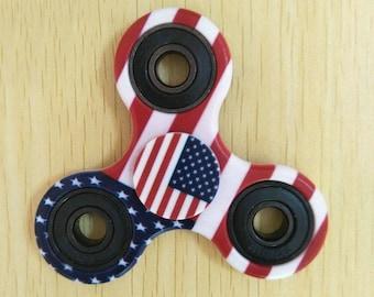 US UK Flag Fidget Spinner Hand Finger Spinner EDC Focus Stress Reliever Novelty Toy  #04
