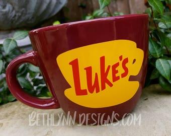 Merlot ORIGINAL Luke's Diner Mug   Big Mug   Lukes mug   Lukes Diner   Gilmore Girls Inspired   VINYL decal logo BOTH sides  Stoneware