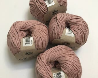 Natura XL Bulky Cotton Yarn in Mauve // 4 Skein Pack // Stash Sale