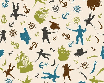 "SUPER CLEARANCE! 19"" REMNANT Pirate Matey's - Toss in Cream - Cotton Quilt Fabric - Emily Taylor for Riley Blake (W550)"