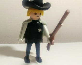 1974 Playmobil Sheriff Figure With Rifle Cape Hat