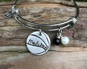 Hand Stamped Basketball bracelet and beads