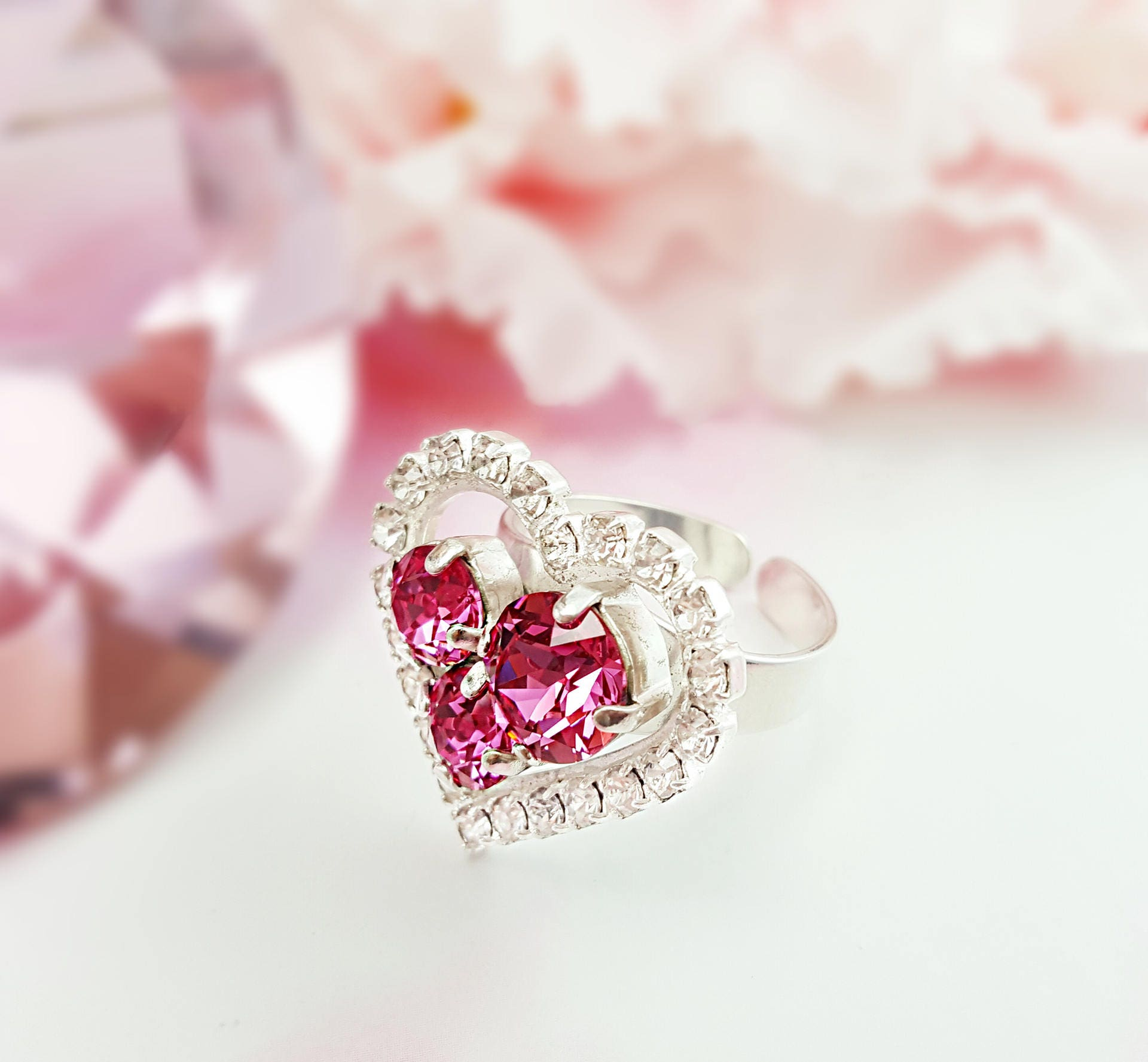 Pink Heart Ring ~ Pink Crystal Ring ~ Pink Tourmaline and Diamond ...