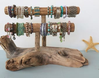 Driftwood Jewelry Holder, Two-Level Driftwood Jewelry Stand, Bracelet Display, Bracelet Holder, Double Bracelet Holder, Two-tiered
