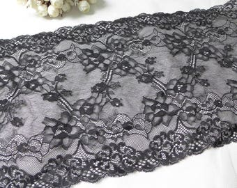 "9.4"" Wide Black Stretch Lace Trim Fabric by the yard"