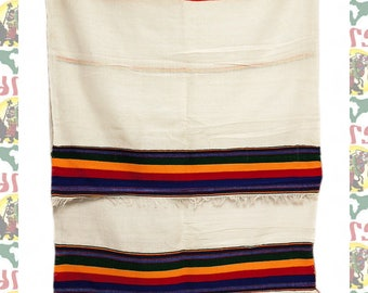 Ethiopian Traditional Woven Cotton Shawl (Scarf-a24)