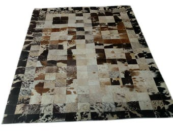 Handmade Cowhide Patchwork Rug - Beautiful Hair On Carpet - Luxurious Rug - R-05