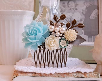 Rustic hair comb Baby blue and creamy white roses pearl hair comb flower hair accessory
