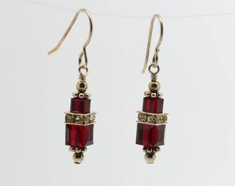 Dark Red Garnet Swarovski Crystal Squaredelle Earrings // January birthstone earrings // Special occasion earrings // Bridesmaid earrings