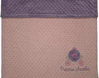 Personalized Princess Baby Blanket, Princess Carriage Minky Blanket, Princess Nursery, Pink and Purple Princess Blanket
