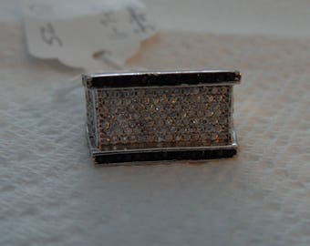 Sterling Silver and CZ and Black Spinel Ring - size 10