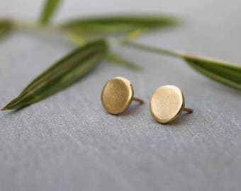 Minimalist earrings Solid Gold, Round earrings Solid Gold, Geometric studs 14k, circle studs 14K, Nickel free Studs