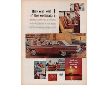 Vintage poster advertisement of a 1962 Ford Fairlane  - 16