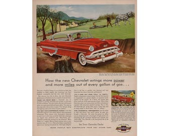 Vintage poster advertisement for a 1954 Chevrolet Bel Air - 61