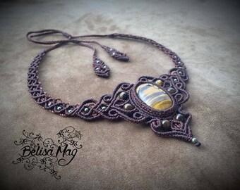 Brown tiger eye macrame choker, tiger eye macrame necklace, Belisamag, tribal gipsy jewelry, crystal necklace, macrame gemstone.