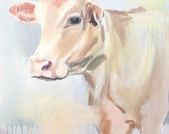 a rustic whimsical abstract cow in blue, peaches gray farmhouse art