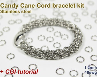 Candy Cane Cord Bracelet Kit, Chainmaille Kit, Stainless Steel, Chainmail Kit, DIY Kit, Jump Rings, Lobster Clasp, Chainmail Tutorial