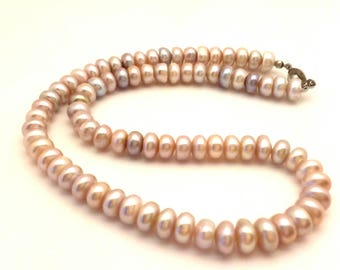 """Vintage Beaded Women Necklace Light Pink & Purple Freshwater Pearls Silver Plated Clasp Long 19.0"""""""