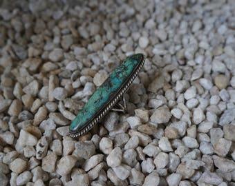 Vintage green turquoise pyrite matrix statement ring