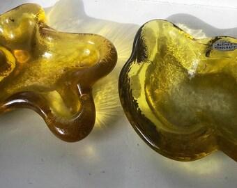 Blenko Amber ashtrays or bowls--freeform, amoeba style--midcentury modern design