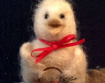 Wool, Needle Felted Easter Chick