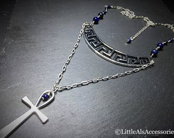 Lapis Lazuli Egyptian Necklace, Egyptian Jewelry, Lapis Lazuli Necklace, Silver Multi Layer Necklace, Ankh Necklace, Ankh Jewelry, Christmas