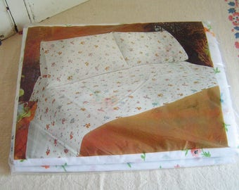 """Vintage Twin Size Flat Sheet in Original Packaging with Spring Floral Flowers on White Background """"Cora"""" by JCPenney Muslin Made in USA"""