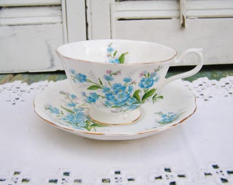 Vintage Royal Albert Forget-me-not Flowers Teacup and Saucer Made in England Eglish Bone China Tea Party Blue Flowers Teacup Saucer Set