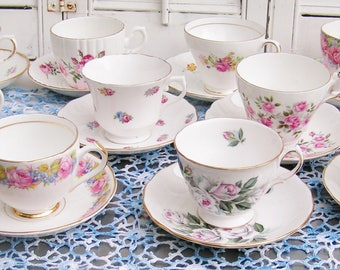 10 Vintage Mismatched Roses Tea Cups Tea Party Set Teacups & Saucers Mix and Match Bridal Shower English Bone China Cottage Chic