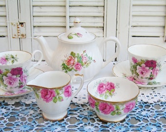 Vintage Mismatched Porcelain Tea Set for 2 Instant Tea Party 7 Pieces Set in Pink Roses Luncheon Set Cottage Chic Tea Set