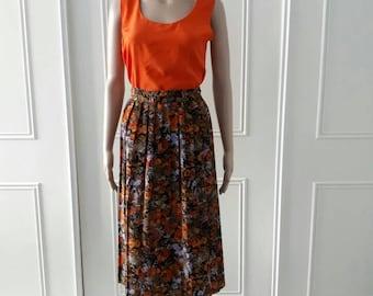 Floral print skirt 1980's vintage skirt mid length skirt ladies skirt orange pleated skirt size 18