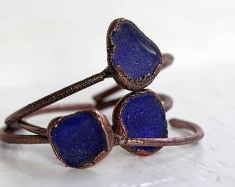 Seaglass Bracelet Beach Glass Electroformed Jewelry Cobalt Blue Stacking Bracelet Copper Bracelet Electroformed Bangle Copper Bracelet