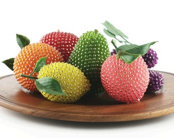 Retro Kitsch Push Pin Sequin Beaded Fruit, 50s -  60s Vintage Kitchen Decor 6 PC Mixed Fruit Centerpiece Bowl, Mid Century Decorative Craft