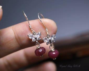 Sterling Silver Ruby Earrings - Tiny Ruby Dangle Earrings - Ruby Jewelry July Birthstone