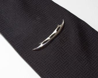 Sci Fi Sword Tie Tack, Fantasy Tie Pin, Sterling Silver Pin, Hand Forged Silver Lapel Pin, Unique Brooch, Two Sided Scimitar, Hook Sword