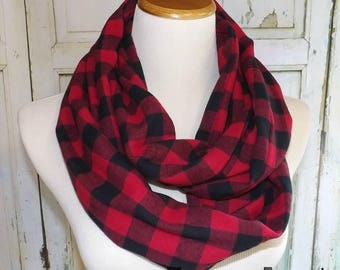 Adult Red & Black Buffalo Plaid FLANNEL Infinity Scarf Photo Shoot Women's  Accessories