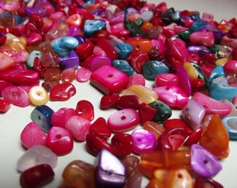 100 multicolored chips 6 beads, 8, 10mm random mix