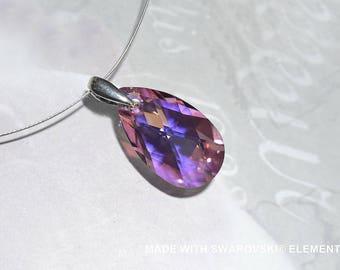 SWAROVSKI Crystal pink blue almond pendant / 925 sterling silver