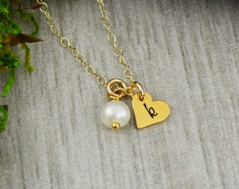 Customizable Initial Necklace in Gold with Freshwater Pearl - Personalized Jewelry - Anniversary Gift - Tiny Heart Charm Necklace