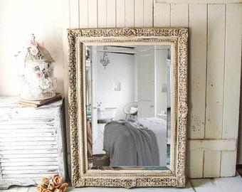 vintage mirror ornate mirror large rustic bathroom mirror farmhouse mirror off white