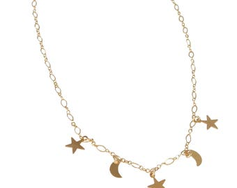 Celestial Collar Necklace; 14K Gold Fill; Chain Choker; Moon and Star Necklace; Layering Necklace; Simple Necklace; Star Necklace; Moon