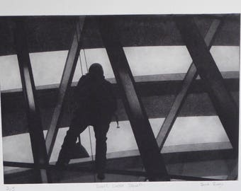 Don't Look Down - solar plate etching, walkie talkie, window cleaner, maintenance, London, Skygarden, Cheesegrater, abseil