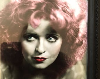 Clara Bow pink hair print in a black frame 7x5""