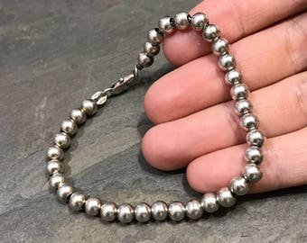 "6.75"", 5mm, Vintage sterling silver bracelet, fine Mexico 925 silver beads bracelet, handmade jewelry, stamped 925"