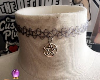 90's Tattoo Choker ~ Grey Pentagram