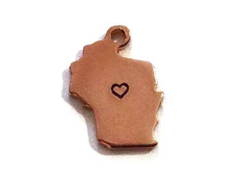 2x Rose Gold Plated Wisconsin State Charms with Hearts - M132/H-WI