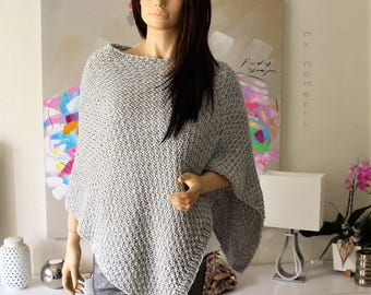 PONCHO Wool / Alpaka light gray melange